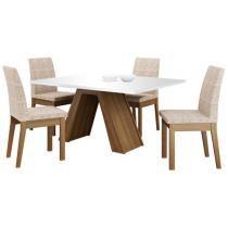 Mesa de Jantar 4 Cadeiras Retangular  - Tampo de Vidro Madesa Ayla MDJA0400276EFEN
