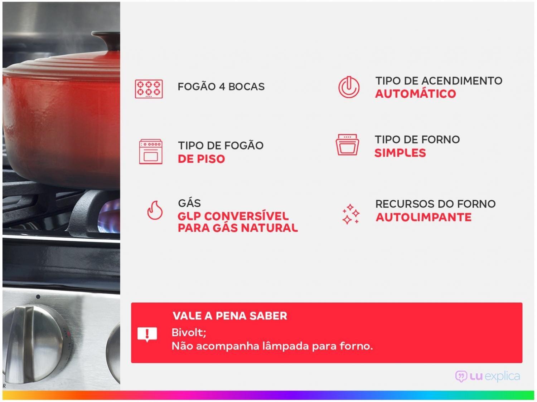 Fogão Esmaltec 4 Bocas Ágata 4062 - Branco - 2