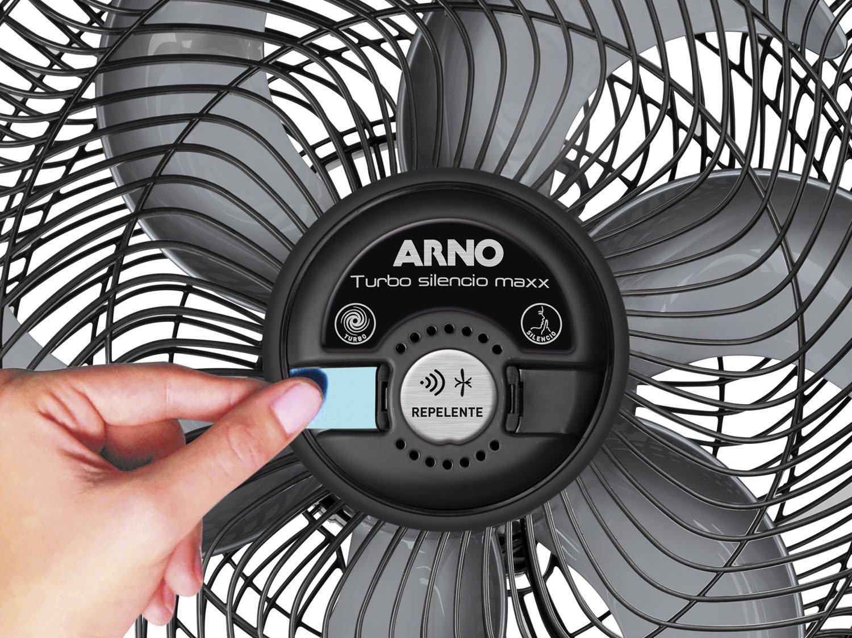 Ventilador Arno Turbo Silencio Maxx Repelente - Preto/Prata - 220v - 4