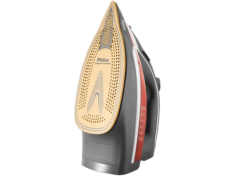 Ferro de Passar Roupa a Vapor Philco - Titanium Ceramic Cinza e Vermelho - 220 V - 1