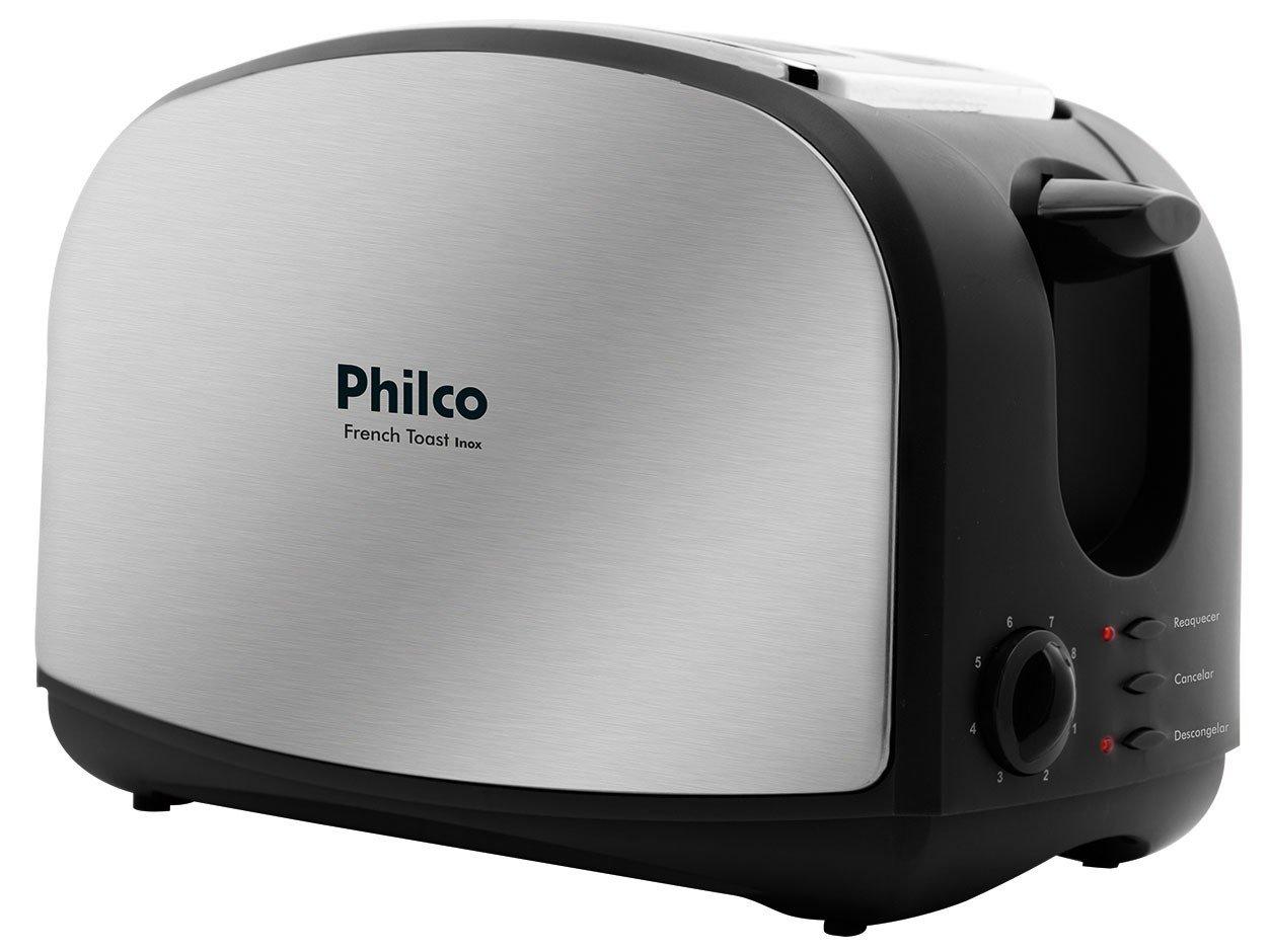 Torradeira French Toast Philco com 8 Níveis de Tostagem - Inox/Preto - 110v - 8