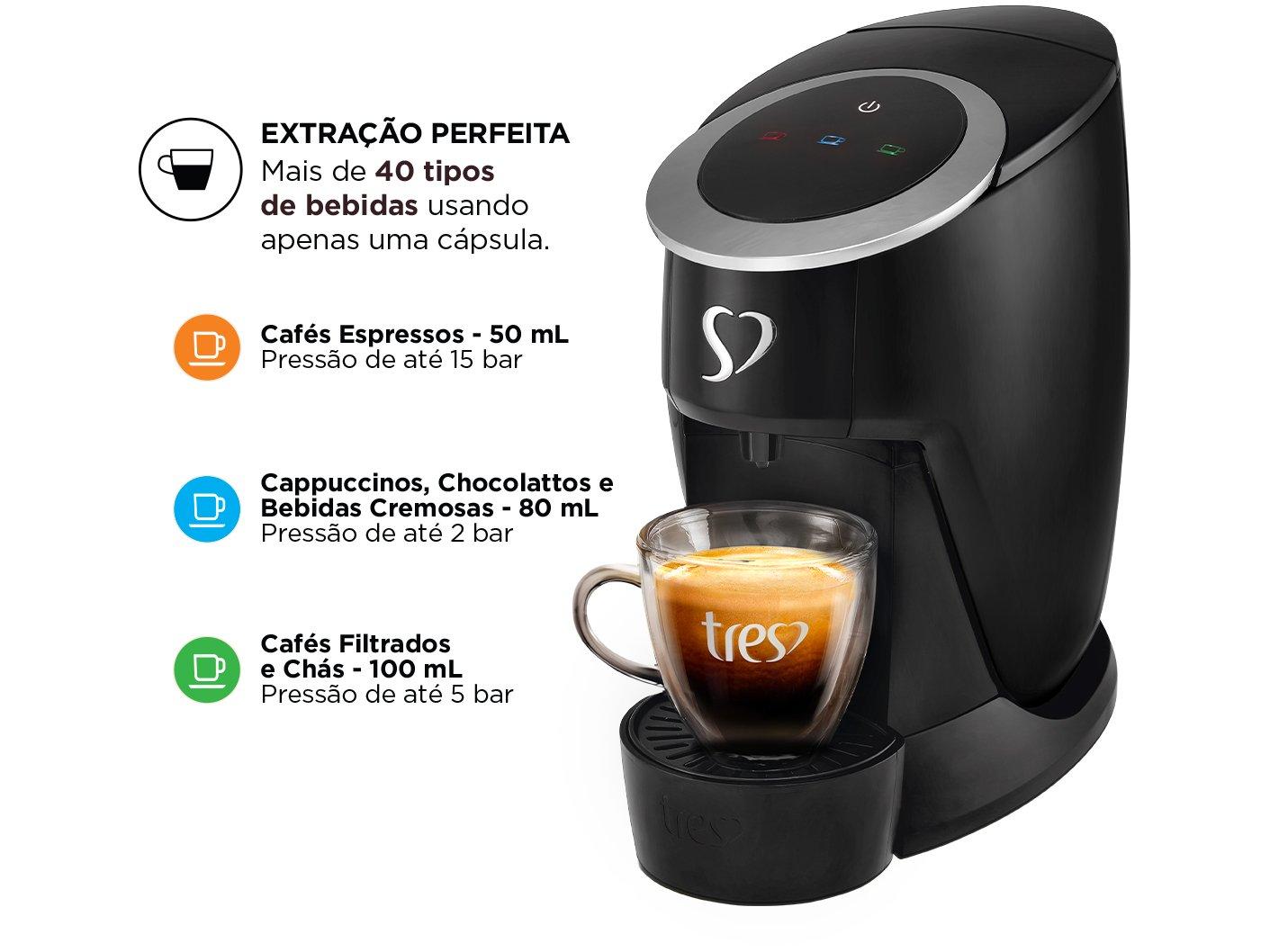 Cafeteira Espresso TRES Touch Preta 3 Corações -  - 110 V - 4