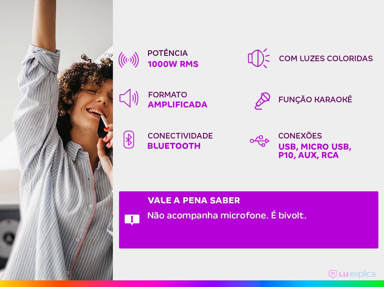Caixa de Som Amplificada Multiuso Lenoxx CA-5000 com Bluetooth, Rádio FM, Entrada USB, SD e Card - 1000W - 3