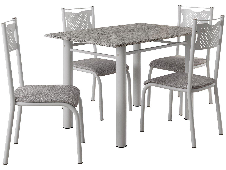Mesa De Cozinha 4 Cadeiras Quadrada Artefamol Perla