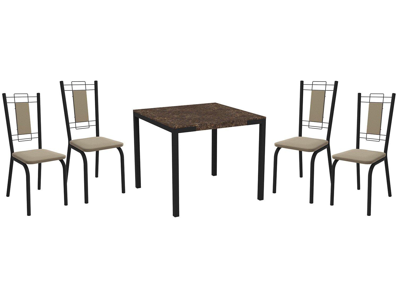 Foto 1 - Mesa de Jantar com 6 Cadeiras Retangular - Móveis Carraro Karina