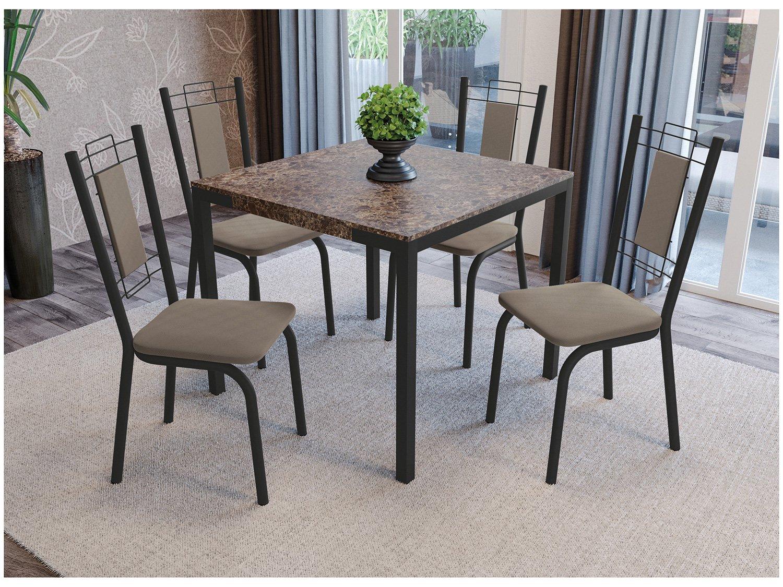 Foto 4 - Mesa de Jantar com 6 Cadeiras Retangular - Móveis Carraro Karina