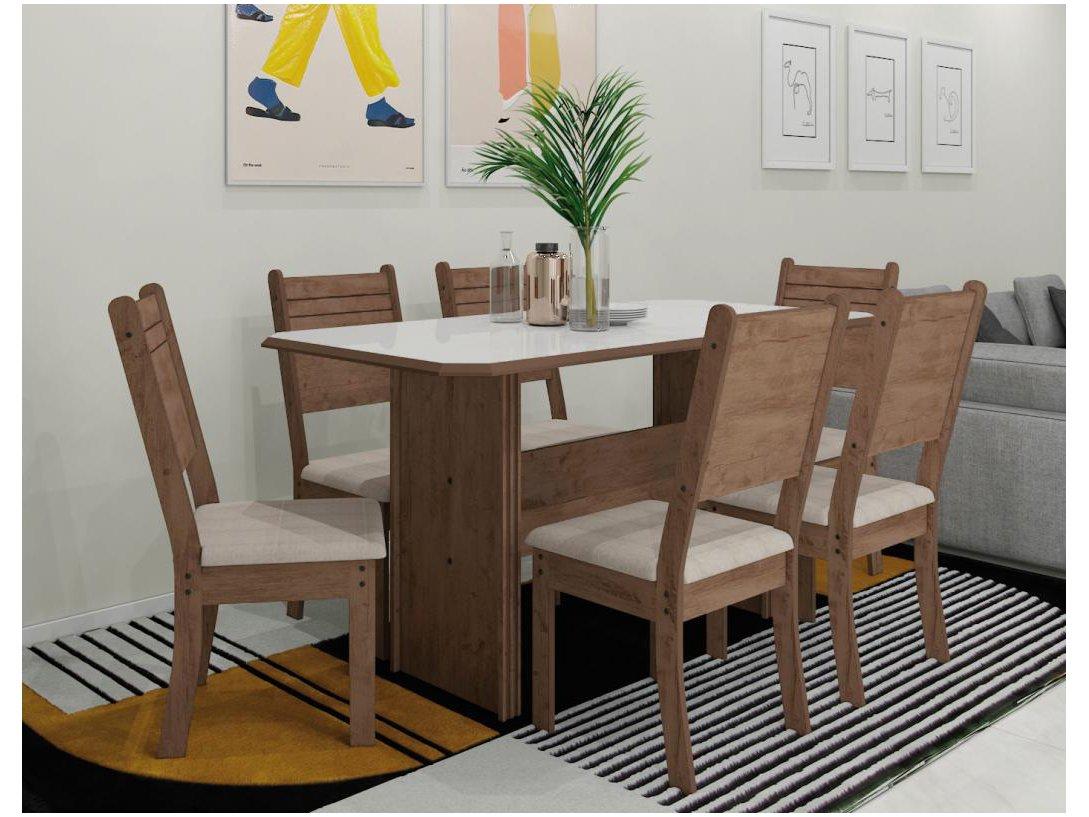 Foto 1 - Mesa de Jantar 6 Cadeiras Retangular Indekes - Cristal