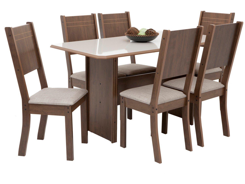 Foto 3 - Mesa de Jantar 6 Cadeiras Retangular Indekes - Cristal
