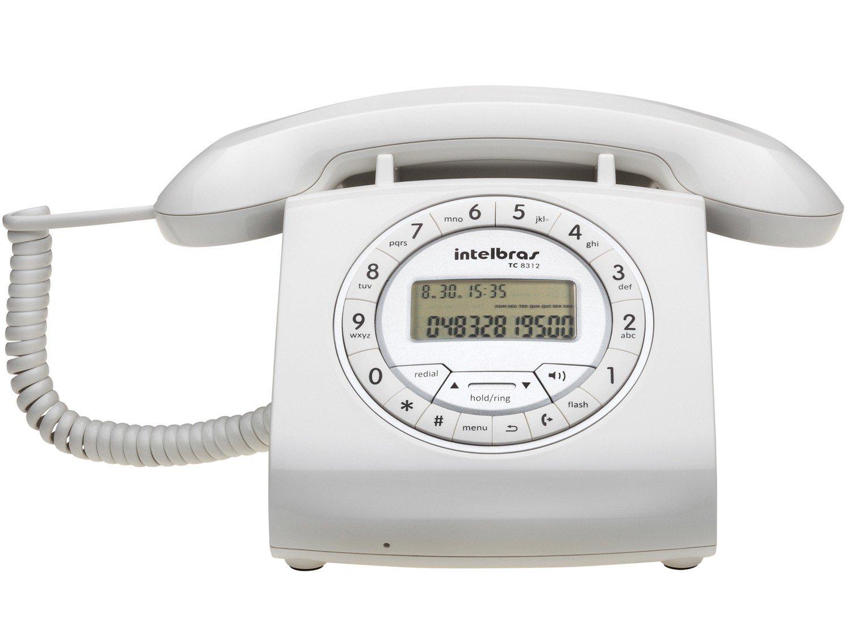 Telefone Com Fio Intelbras TC 8312 - Identificador de Chamada Viva Voz Branco