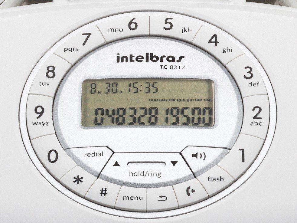 Telefone Com Fio Intelbras TC 8312 - Identificador de Chamada Viva Voz Branco - 8