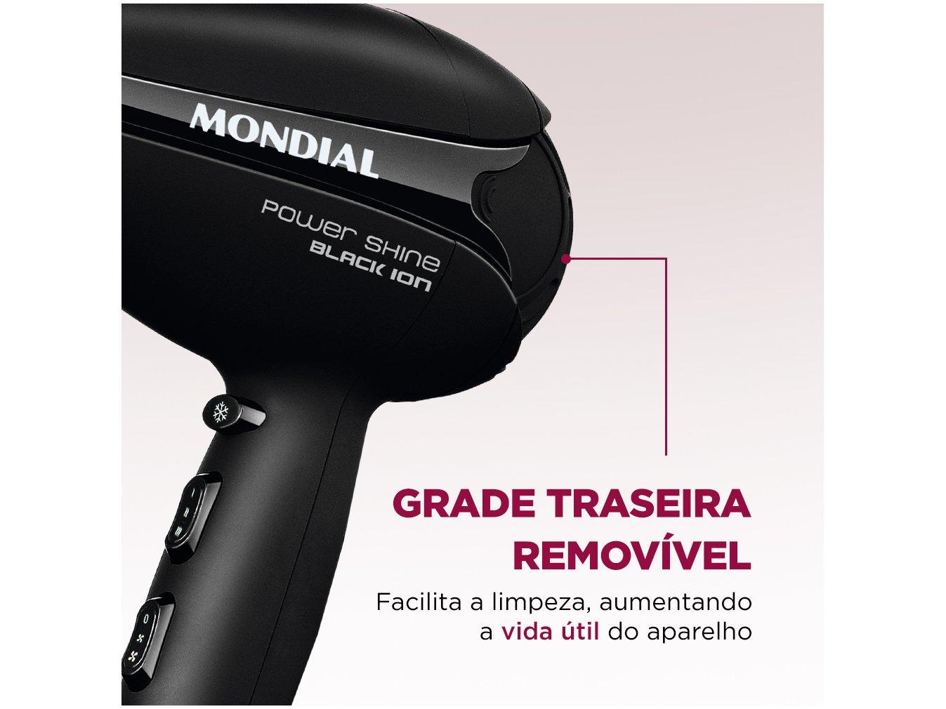 Secador de Cabelos Mondial Power Shine Black SC-13 - Preto - 110v - 10