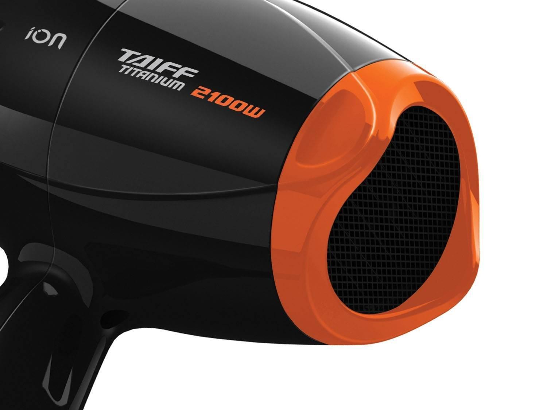 Secador de Cabelos Taiff Titanium Colors com Emissão de Íons Motor AC Profissional Preto/Laranja 2100W - 110V - 6