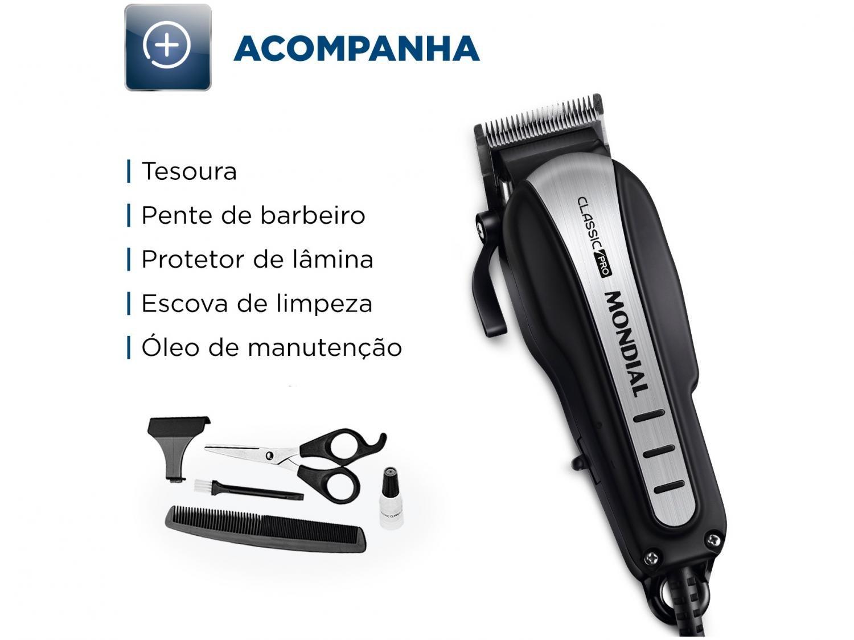 Máquina de Cortar Cabelo Mondial Classic Pro CR-03 com 4 pentes - Prata/Preta - 220 v - 6