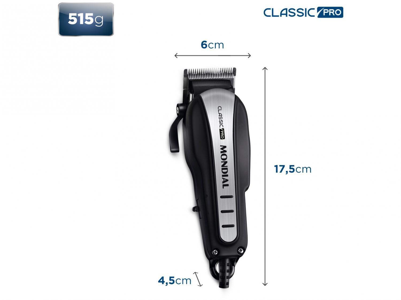 Máquina de Cortar Cabelo Mondial Classic Pro CR-03 com 4 pentes - Prata/Preta - 220 v - 8