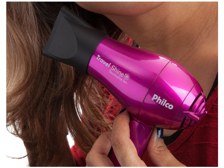 Secador de Cabelo Philco Kit Travel Shine Roxo p/ - Viagem Dobrável Turmaline Íon 1000W 2 Velocidades - Bivolt - 8