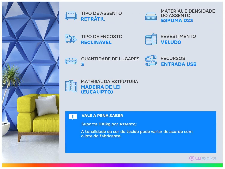 Foto 2 - Sofá Retrátil Reclinável 3 Lugares - Connect Plus Gralha Azul com Entrada USB