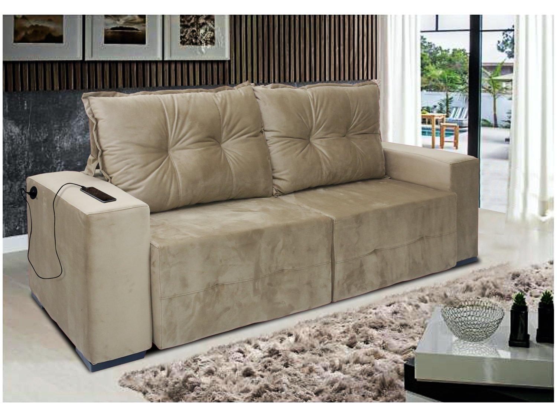 Foto 4 - Sofá Retrátil Reclinável 3 Lugares Veludo - Dallas Conect Casa Nobre Estofados com Entrada USB