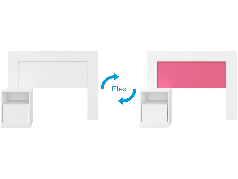 Cabeceira para Cama Solteiro Demóbile London Flex com Criado-Mudo - Branco/Rosa - 4