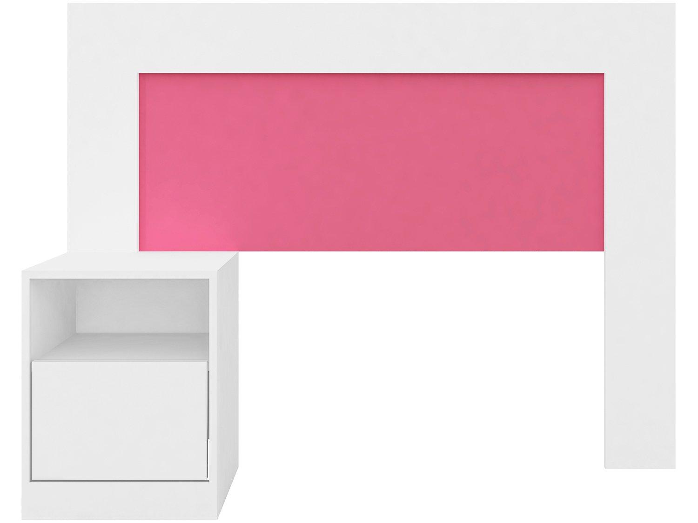 Cabeceira para Cama Solteiro Demóbile London Flex com Criado-Mudo - Branco/Rosa - 6