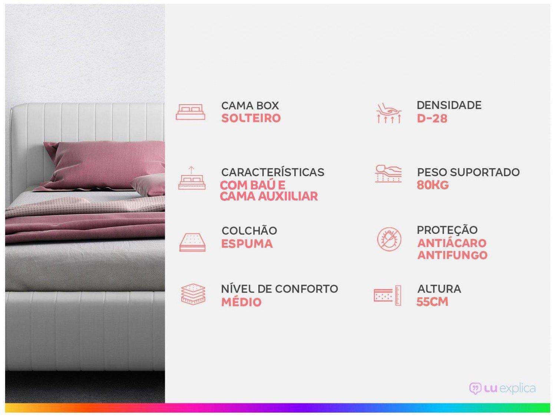 Cama Solteiro Box com Baú e Cama Auxiliar - LightSpuma 61cm Lady - 1