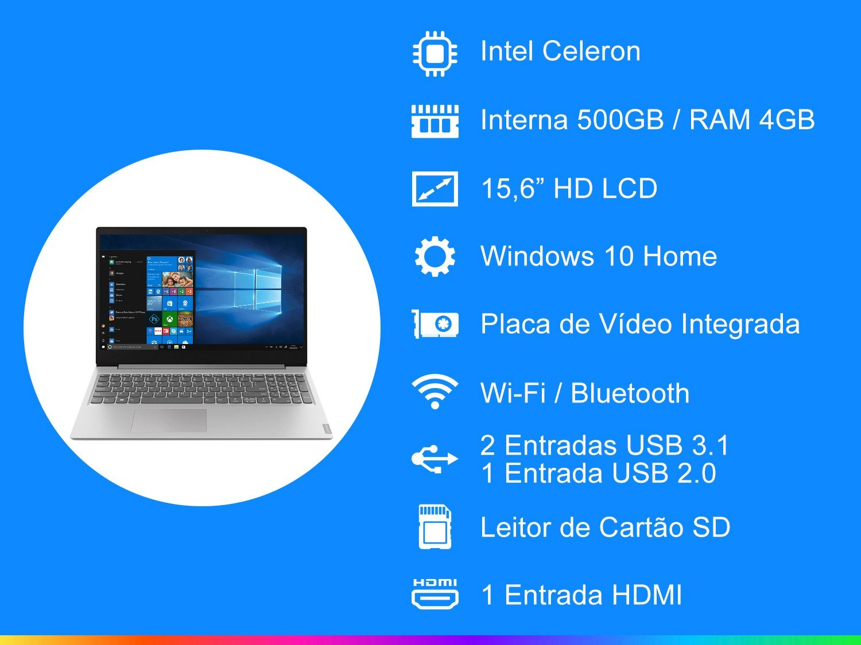 "Notebook Lenovo Dual Core 4GB 500GB Tela 15.6"" Windows 10 Ideapad S145 - 4"