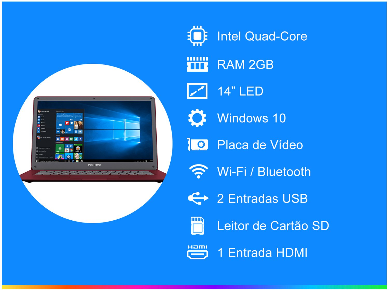 "Notebook Positivo Motion Red Q 232A - Intel Quad Core 2GB 32GB LED 14"" Windows 10 - Bivolt - 4"