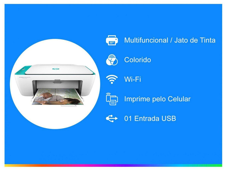 Foto 2 - Impressora Multifuncional HP Deskjet Ink Advantage - 2676 Jato de Tinta Wi-Fi Colorida USB
