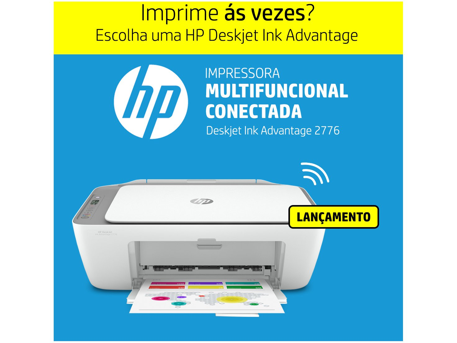 Impressora Multifuncional HP DeskJet Ink Advantage - 2776 Jato de Tinta Colorida Wi-Fi USB - Bivolt - 2