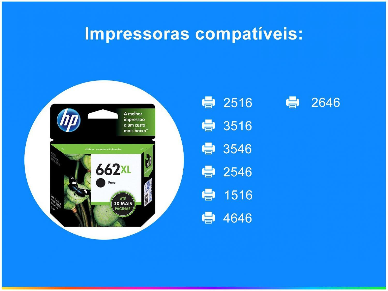 Foto 2 - Cartucho de Tinta HP 662XL - Preto Original