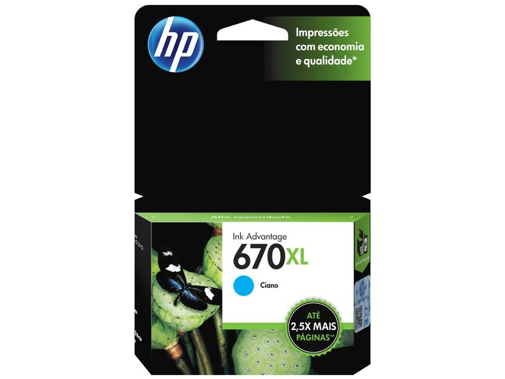 Cartucho de Tinta HP Ciano 670 XL - Original