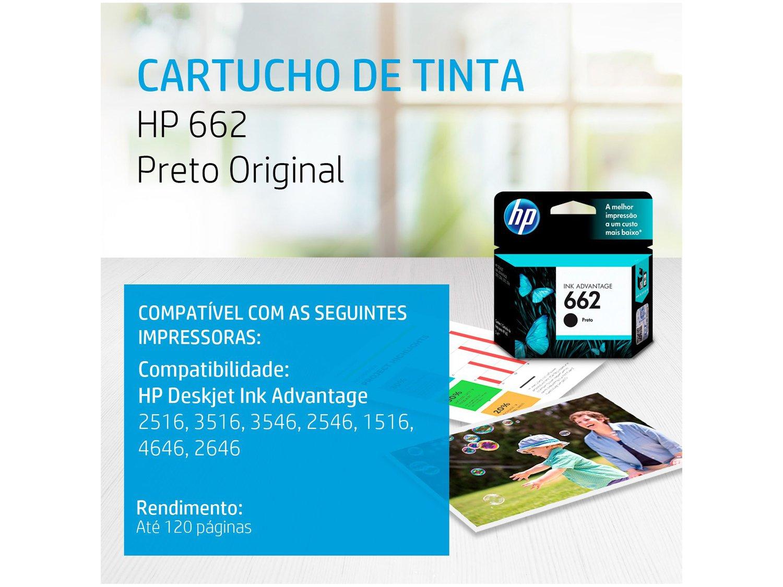 Cartucho de Tinta HP 662 Preto - Original - 4
