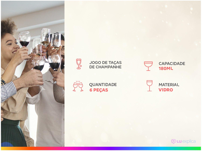 Jogo de Taças para Champanhe Vidro 6 Peças 180ml - Nadir Barone - 1