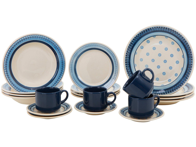 Aparelho de Jantar 20 Peças Biona Cerâmica - Redondo Branco e Azul Donna - 1