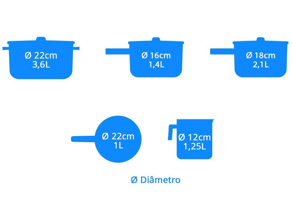 Jogo de Panelas Brinox Revestimento Cerâmico - Preto 5 Peças Ceramic Life Easy - 2