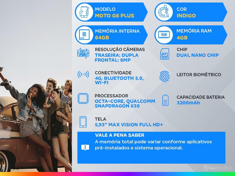"Smartphone Motorola Moto G6 Plus 64GB Indigo 4G - 4GB RAM Tela 5,93"" Câm. Dupla+ Câm. Selfie 8MP - 2"