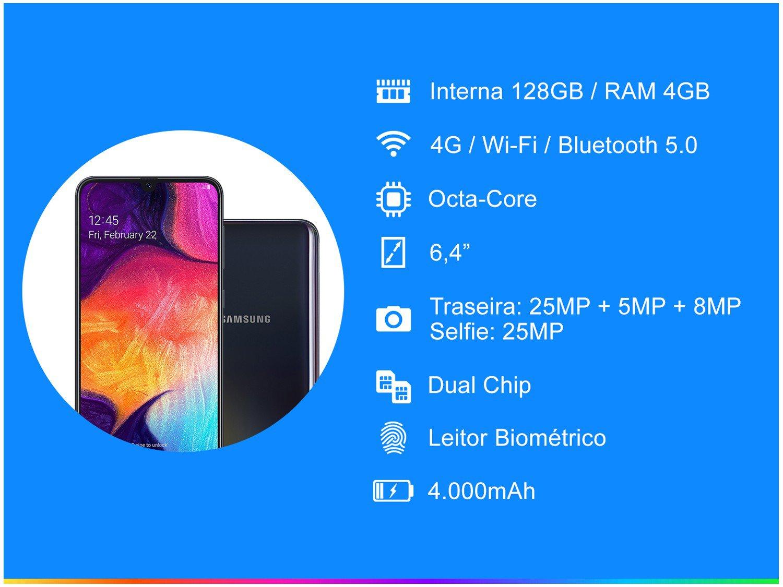 """Smartphone Samsung Galaxy A50 Preto 128GB, Tela Infinita de 6.4"""", Câmera Traseira Tripla, Leitor Digital na Tela, Android 9.0 e Processador Octa-Core - 3"""
