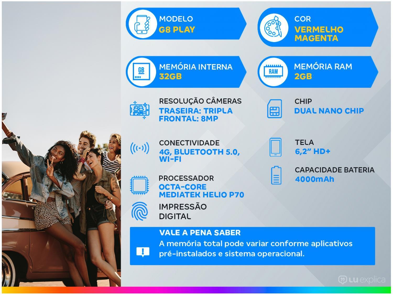 """Smartphone Motorola Moto G8 Play Vermelho Magenta 32GB, Tela Max Vision de 6.2"""" HD+, Câmera Traseira Tripla, Android 9.0 e Processador Octa-Core - 1"""