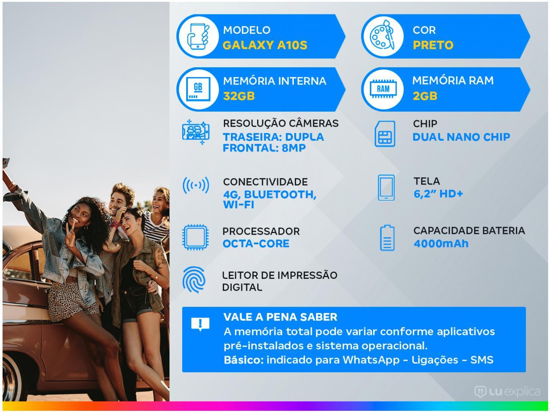 "Smartphone Samsung Galaxy A10s 32GB Preto - 4G 2GB RAM 6,2"" Câm. Dupla + Selfie 8MP - 1"