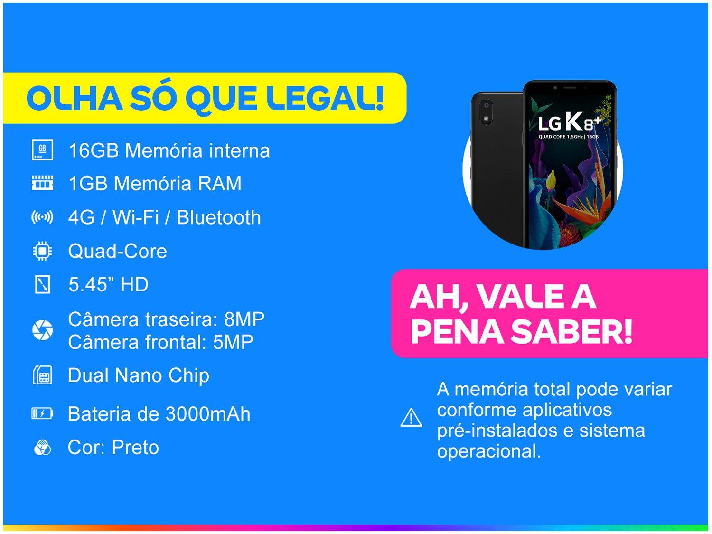 """Smartphone LG K8 Plus 16GB Preto 4G Quad-Core - 1GB RAM 5,45"""" Câm. 8MP + Câm. Selfie 5MP - 1"""
