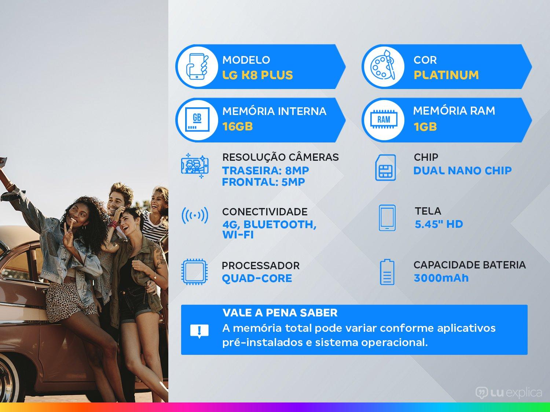 "Smartphone LG K8 Plus 16GB Platinum 4G Quad-Core - 1GB RAM 5,45"" Câm. 8MP + Câm. Selfie 5MP - 1"