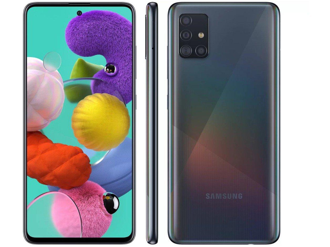 "Smartphone Samsung Galaxy A51 128GB Preto 4G - 4GB RAM 6,5"" Câm. Quádrupla + Câm. Selfie 32MP - Bivolt"