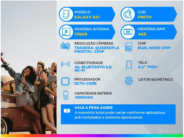 "Smartphone Samsung Galaxy A51 128GB Preto 4G - 4GB RAM 6,5"" Câm. Quádrupla + Câm. Selfie 32MP - Bivolt - 1"