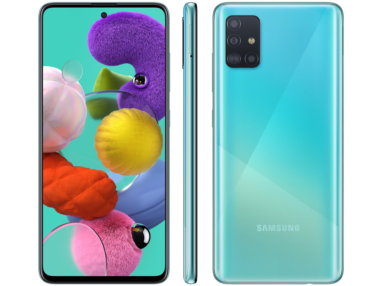 "Smartphone Samsung Galaxy A51 128GB Azul 4G - 4GB RAM 6,5"" Câm. Quádrupla + Câm. Selfie 32MP - Bivolt"
