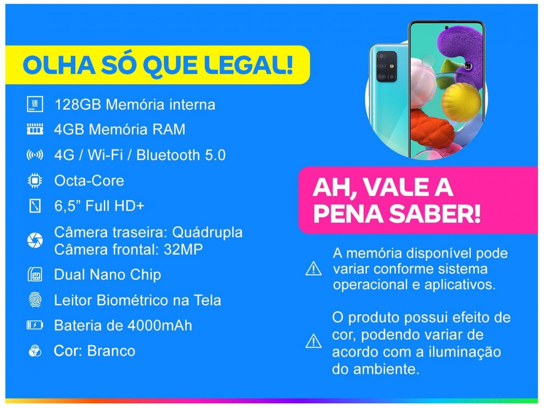 "Smartphone Samsung Galaxy A51 128GB Azul 4G - 4GB RAM 6,5"" Câm. Quádrupla + Câm. Selfie 32MP - Bivolt - 1"