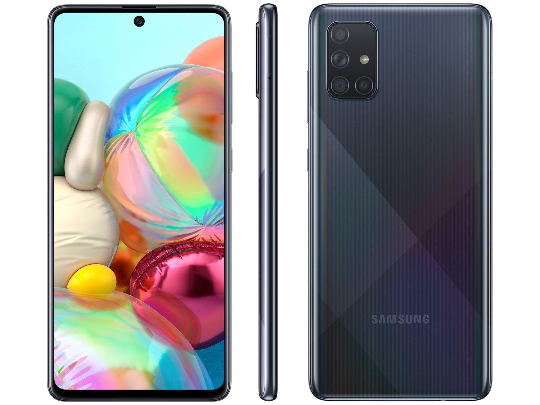 """Smartphone Samsung Galaxy A71 128GB Preto 6GB RAM - Tela 6,7"""" Câm. Quádrupla Câm. + Selfie 32MP - Bivolt"""
