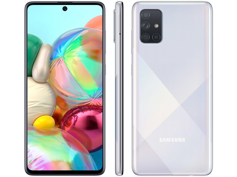 "Smartphone Samsung Galaxy A71 128GB Prata 6GB RAM - Tela 6,7"" Câm. Quádrupla Câm. + Selfie 32MP - Bivolt"