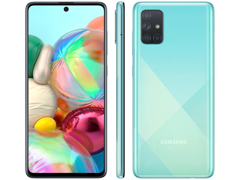 """Smartphone Samsung Galaxy A71 128GB Azul 6GB RAM - Tela 6,7"""" Câm. Quádrupla Câm. + Selfie 32MP - Bivolt"""