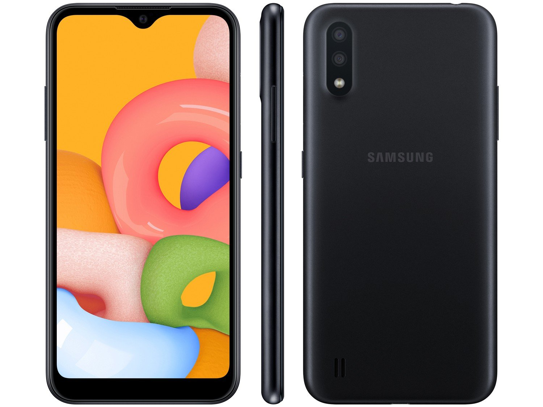 "Smartphone Samsung Galaxy A01 32GB Preto Octa-Core - 2GB RAM Tela 5,7"" Câm. Dupla + Câm. Selfie 5MP - Bivolt"