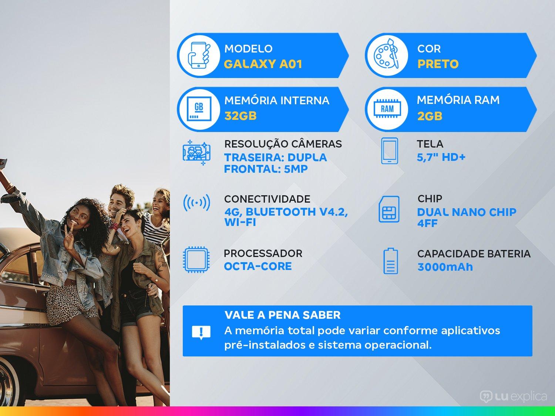 "Smartphone Samsung Galaxy A01 32GB Preto Octa-Core - 2GB RAM Tela 5,7"" Câm. Dupla + Câm. Selfie 5MP - Bivolt - 1"