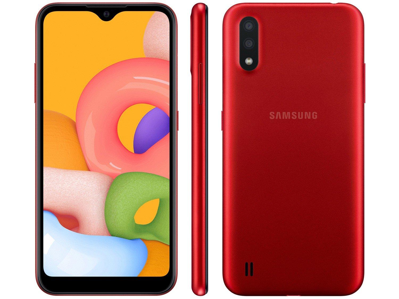 """Smartphone Samsung Galaxy A01 32GB Vermelho - 2GB RAM Tela 5,7"""" Câm. Dupla + Câm. Selfie 5MP - Bivolt"""